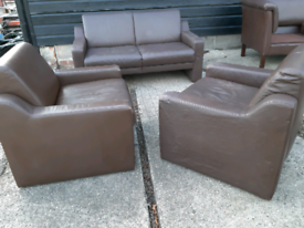 Vintage retro Danish brown leather 2 seater sofa armchairs suite