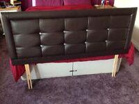 Kingsize headboard/faux brown leather padded headboard