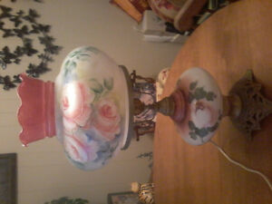 Large Vintage Hand Painted Floral Electric Lamp