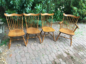 Antique dining table with four spindle chairs