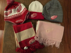 Red wings toques and scarves