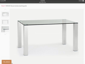 Stunning glass chrome dining table