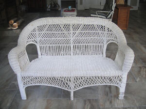 Vintage White Wicker Settee, Coffee Table & Arched Wicker Mirror
