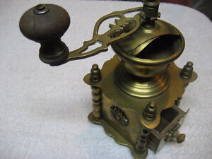Antique Coffee Grinder solid Brass table box hand crank mill