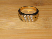 PRICE REDUCED: 10K gold ring with 9 diamonds, size 10.50