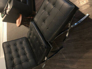 Barcelona chair and footrest
