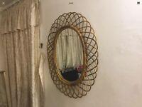 Wicker framed oval shaped Wall Mirror
