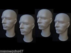 4 tetes de mannequin homme pour casque chapeau perruque ebay. Black Bedroom Furniture Sets. Home Design Ideas