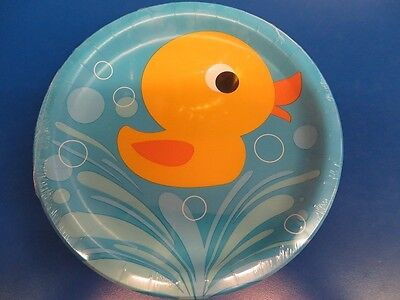 Rubber Duck Baby Shower Plates (Lil' Quack Rubber Duck Ducky Blue Cute Baby Shower Party 9