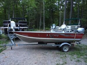 2008 Lund Deep and Wide 14' Aluminum Boat w/ motor and trailer