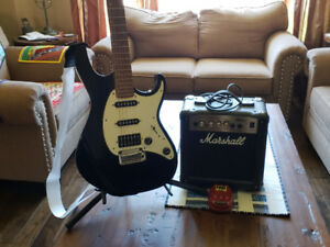 Beautiful Cort Stratocaster Electric Guitar with hard shell case