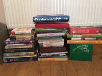 Books, recipe cards, pottery cake stand & kettle bell
