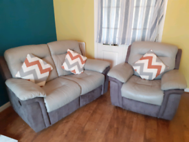 GREY LEATHER 2 SEATER & 1 SEATER RECLINING SOFA