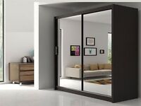 (((((203cm((( -BERLIN Wardrobe With Sliding Doors Fully Mirrored White / Black