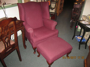 Burgundy wing wing chair