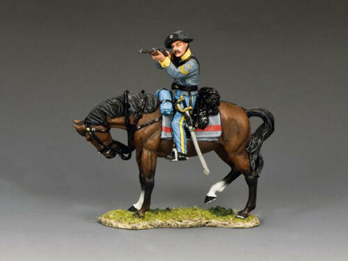 """King and Country CW109 """"Confederate Cav Sgt Firing"""" 1/30 Metal ACW Toy Soldier"""
