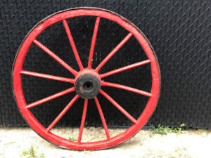 Antique Colorful Red Wagon Wheel