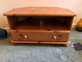 Pine TV stand with bottom draw