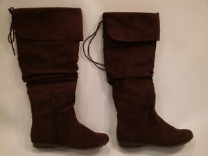 Brown Faux Suede Knee-High Fashion Boots London Ontario image 1