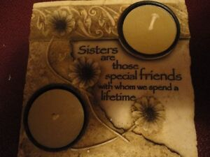 """Tealight candle """"sister"""" themed plaque stlye ornament"""