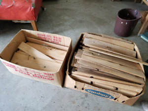 Boxes of cedar shingles.