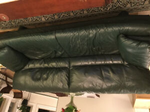 Italian leather sofa and love seat