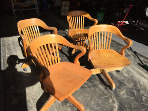 Solid Oak Bankers Chairs