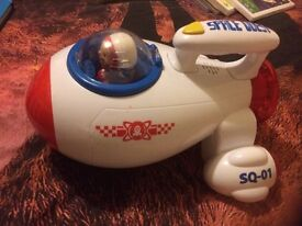 Toy light up and talking space ship with 2 figures **