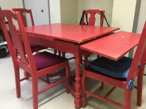 Antique wood table and 5 chairs