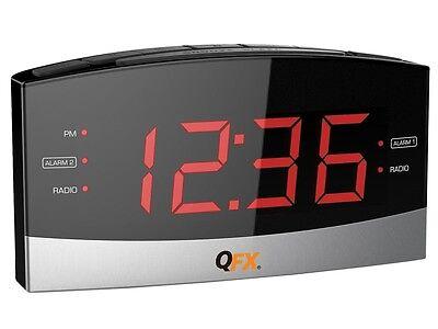 "QFX CR-32 AM/FM Dual Alarm Clock Radio +1.8"" Big Red LED Display +AUX-in"