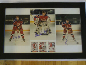 3 PHOTOS AUTOGRAPHIÉS DE JOUEURS DE HOCKEY JUNIOR DE LA RUSSIE