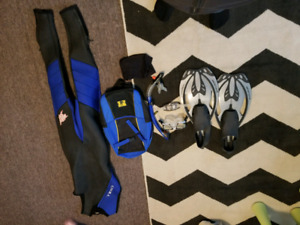 Wetsuit with snorkel kit and flippers