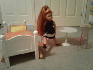 18 inch doll, doll bed and table