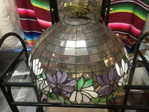 Beautiful Floral Design Stained Glass & Brass Hanging Lamp