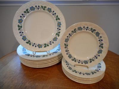 Wedgwood blue Clematis corinthian creamware FIFTEEN plates circa 1940 AS IS