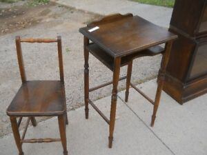 Older solid wooden telephone table /chair