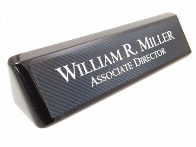 Desk Name Plate Black Wood Piano Finish Desk Wedge With Carbon Fiber Look Plate