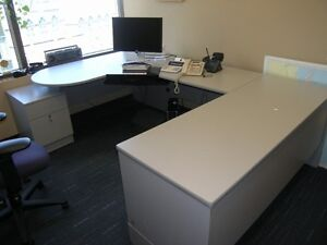 U-Shaped Office desk with filing cabinet