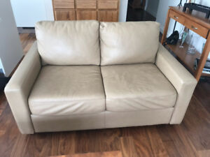 Leather sofa and loveseat, Taupe color