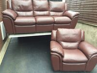 TOP OF THE RANGE FULTONS 3 & 1 LEATHER RECLINING SOFAS