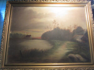 Antique Victorian Landscape Painting