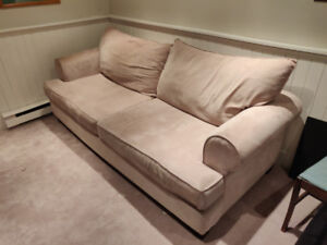 Beige 3 Seater Couch Sofa Microfiber Suede Material
