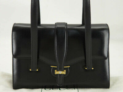 GUCCI VINTAGE BLACK LEATHER FLAP HAND BAG w/DUST BAG EY441