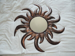 Decorative Metal Wall Hanging flaming sun mirror