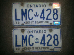 1973 ONTARIO LICENSE PLATE SET ONLY 19$see my there ads