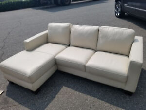 White leather sectional couch- New