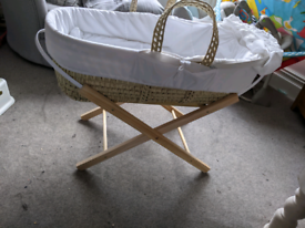 Moses basket with stand, unused mattress, blanket and 4 fitted sheets