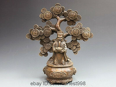 China Copper Bronze Pachira Tree God of wealth Folk Feng Shui Buddha Statue