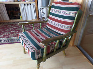 2 wooden arm chairs