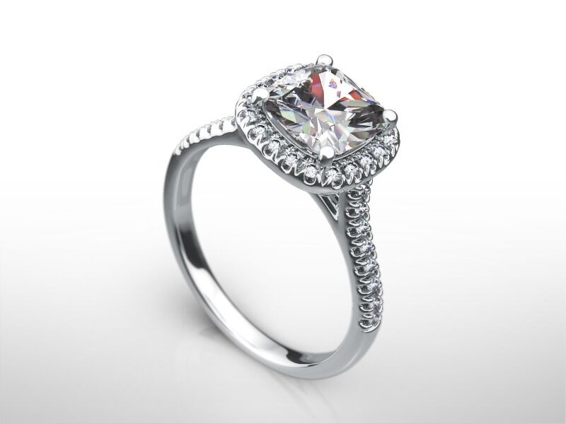 2.5 CARAT CUSHION  F/SI2  DIAMOND  HALO ENGAGEMENT RING 14K WHITE GOLD